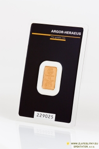 Zlatý slitek Argor Heraeus 2g