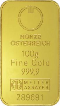 Zlatý slitek Münze Österreich 100 g