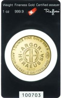 Zlatý slitek Argor Heraeus 1 Oz RUND
